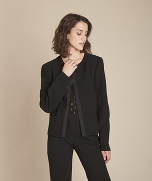 Picture of CHARME BLACK MICROFIBRE AND GROSGRAIN JACKET