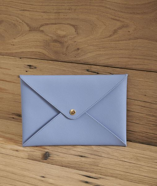Picture of SHIBUYA SKY BLUE RECYCLED LEATHER ENVELOPE CLUTCH