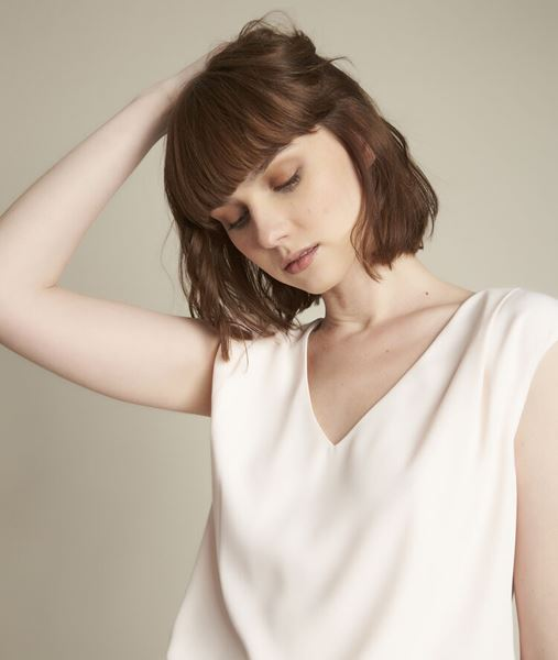 Picture of NEPTUNE NUDE DUAL-MATERIAL BLOUSE
