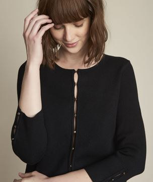 Picture of DAUPHINE BLACK MILANO RIB KNIT BOLERO