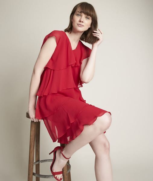 Picture of OLY RED SILK DRESS WITH RUFFLES