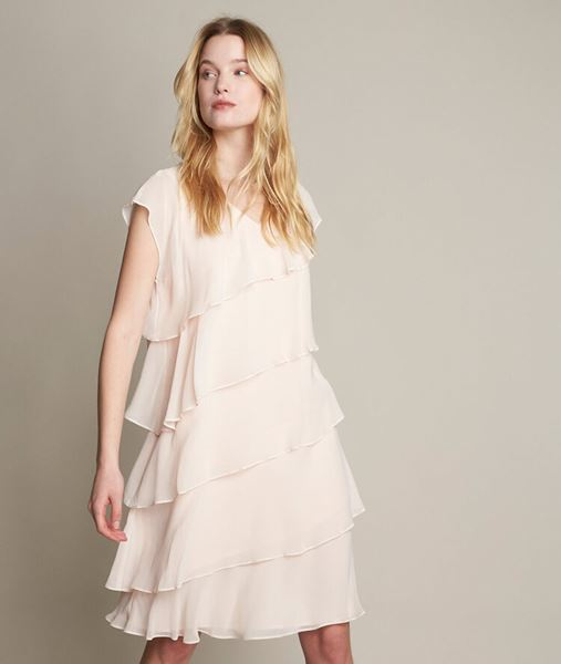 Picture of OLY NUDE SILK DRESS WITH RUFFLES