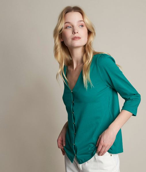 Picture of ROSACE GREEN BUTTONED T-SHIRT