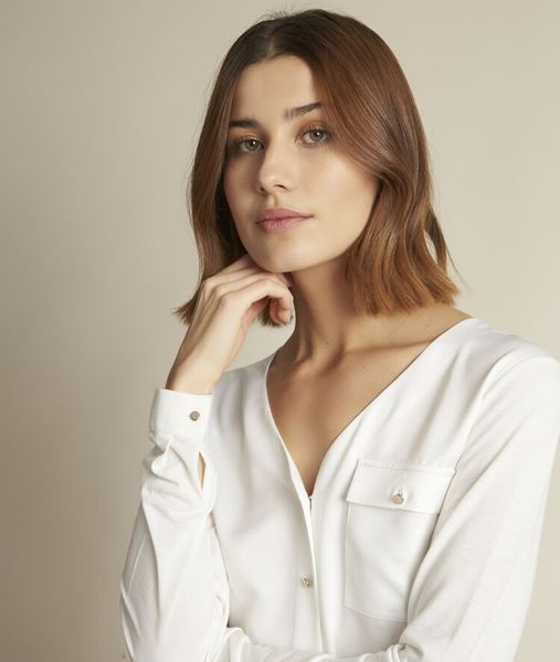 Picture of RACHEL DUAL-FABRIC BUTTON-DOWN TOP
