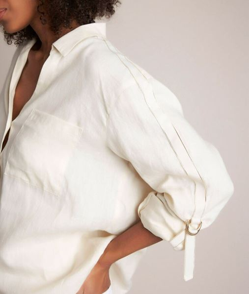 Picture of CATHLEEN IVORY LINEN SHIRT