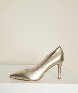 Picture of KELLY GOLD LEATHER HIGH HEELS