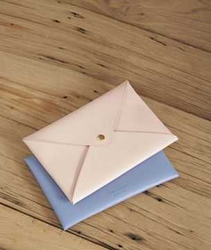 Picture of SHIBUYA PALE PINK RECYCLED LEATHER ENVELOPE CLUTCH