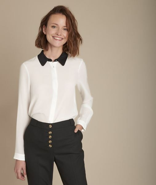 Picture of MAELLE SILK SHIRT WITH CONTRASTING COLLAR