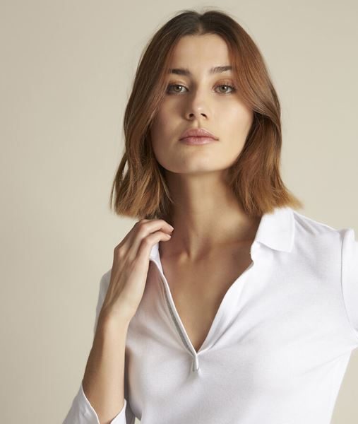 Picture of ROSEAU WHITE POLO SHIRT WITH LUREX DETAIL