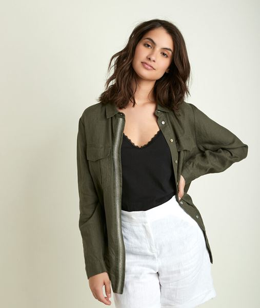 Picture of CATHLEEN LEAF GREEN LINEN SHIRT