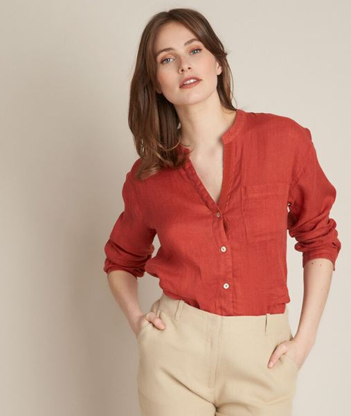Picture of EMELINE BRICK-RED LINEN SHIRT