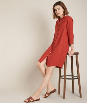 Picture of CÉLINE TERRACOTTA LINEN SHIRT DRESS