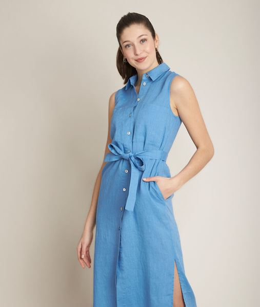 Picture of CYRIELLE LONG BELTED LINEN DRESS