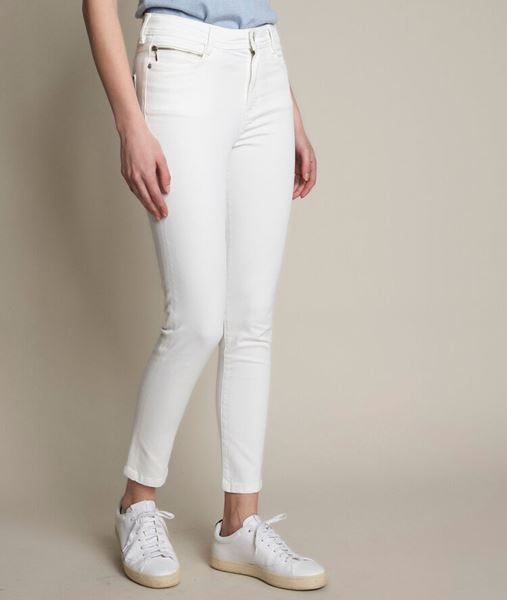 Picture of THE ICONIC SULTAN ECRU SLIM-FIT COTTON SATIN TROUSERS