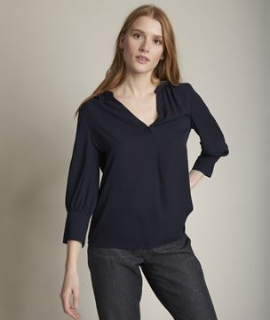 Picture of ELISEE FLOWING NAVY BLUE BLOUSE