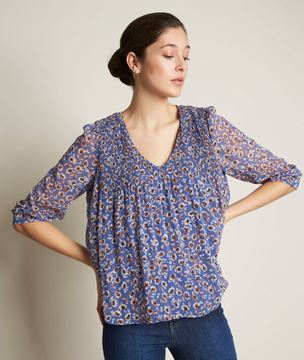 Picture of EVA PLEATED PRINTED BLOUSE