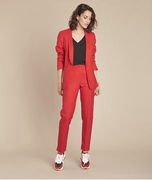 Picture of EMILE RED CIGARETTE TROUSERS WITH PLEATS