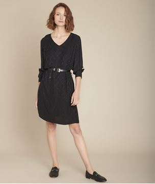 Picture of ILIESSE BELTED JACQUARD DRESS