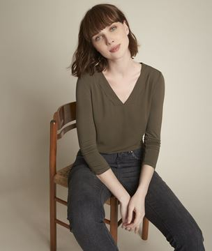 Picture of ELIOTT KHAKI TOP IN TWO FABRICS