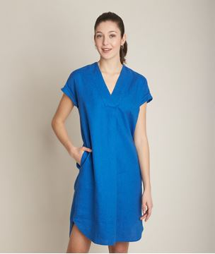 Picture of CHRISTINA BLUE LINEN DRESS