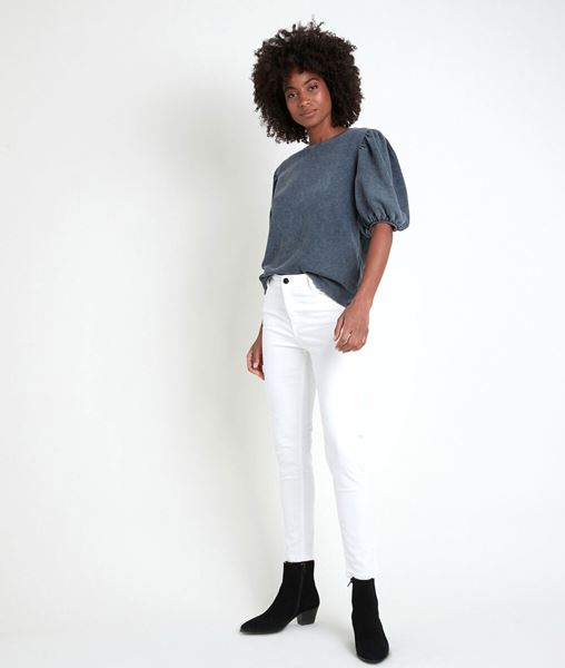 Picture of THE ICONIC SULTAN ECRU SLIM-FIT COTTON SATIN JEANS