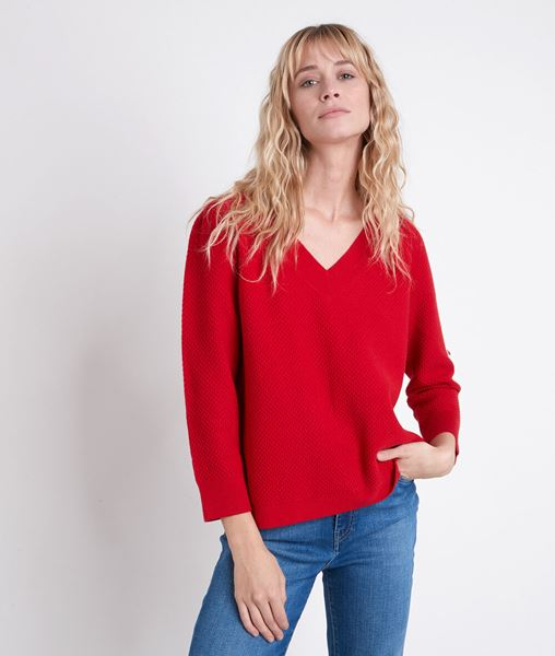 Picture of AMORE RED DECORATIVE KNIT JUMPER