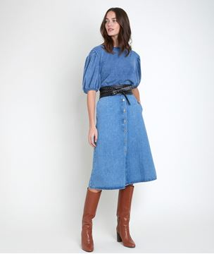 Picture of INAYA BLUE PUFFED SLEEVES TOP