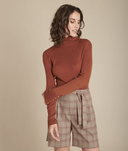 Picture of FLORALE MAHOGANY RIBBED ROLL-NECK PULLOVER