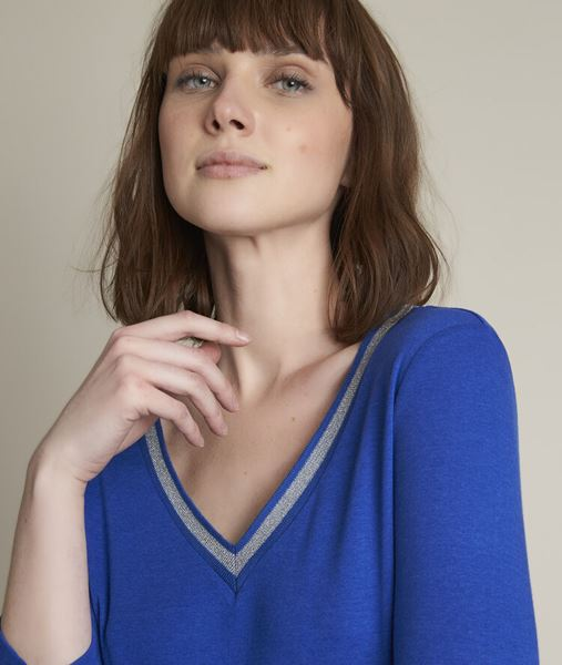 Picture of CALYPSO BLUE T-SHIRT WITH DECORATIVE COLLAR