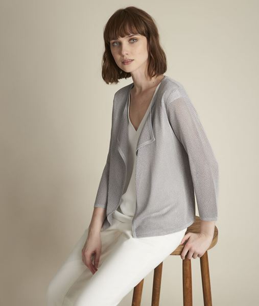 Picture of NOISETTE CHINÉ GREY OPENWORK CARDIGAN
