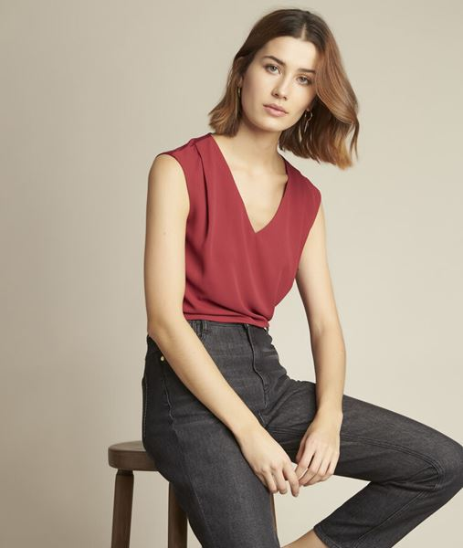 Picture of NEPTUNE BURGUNDY DUAL-FABRIC TOP