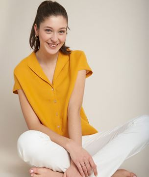 Picture of ESTELLE SAFFRON LINEN TOP