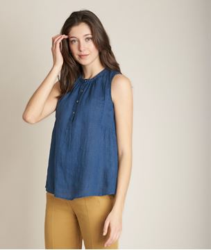 Picture of ELOANE INDIGO LINEN TOP
