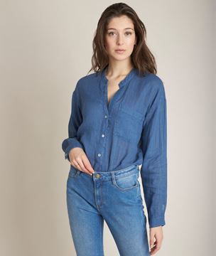 Picture of EMELINE INDIGO LINEN SHIRT