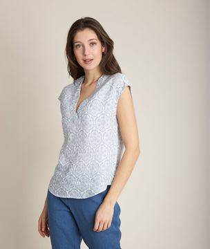 Picture of EGLANTINE PRINTED LINEN TOP