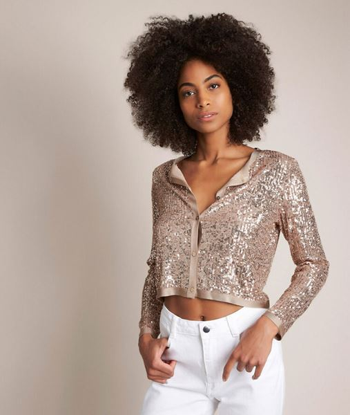 Picture of ROCK CROPPED SEQUINNED CARDIGAN