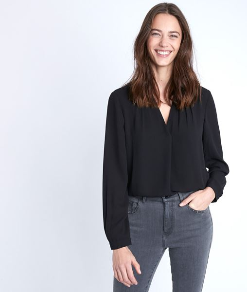 Picture of DAVINA BLACK TWO-FABRIC BLOUSE