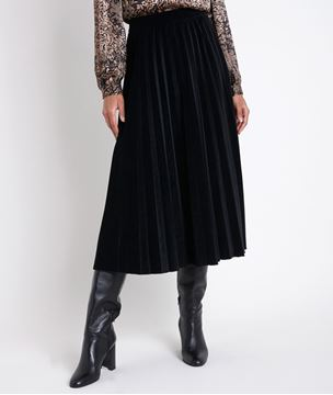 Picture of GALINA VELVET PLEATED DRESS