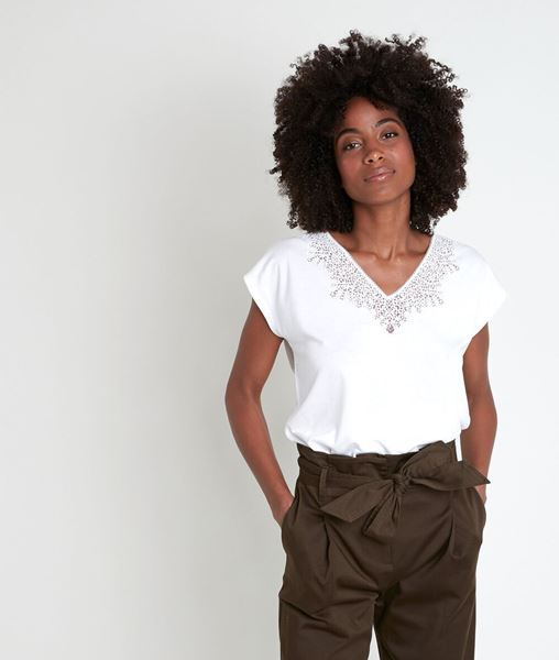 Picture of IDIANE ECRU TOP WITH LACE NECK