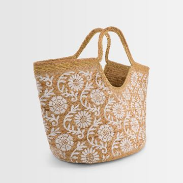 Picture of DIEGO FLORAL PRINT JUTE BASKET