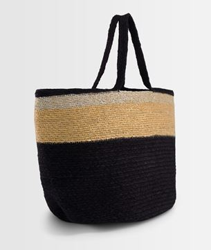 Picture of DAVE BLACK STRIPED JUTE BASKET