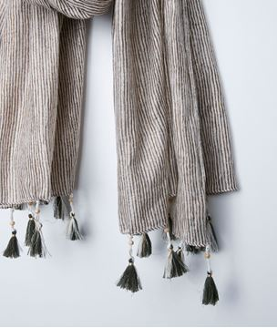 Picture of BAYRON STRIPED FRINGED SCARF