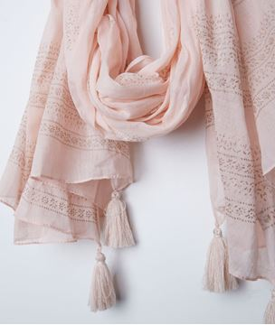 Picture of BELLA STRIPED FRINGED SCARF
