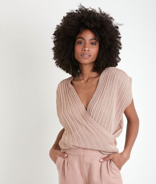 Picture of ANGELE PLEATED LUREX KNIT TOP