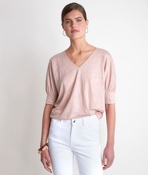 Picture of ILLUSION PEACH LINEN T-SHIRT