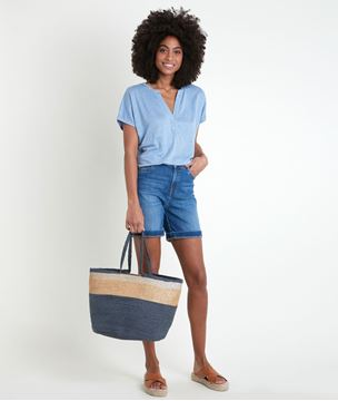 Picture of ILARIA BLUE ORGANIC LINEN TOP