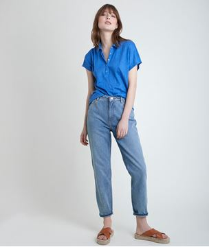 Picture of IDOLINE LINEN FORGET-ME-NOT POLO-NECK TOP