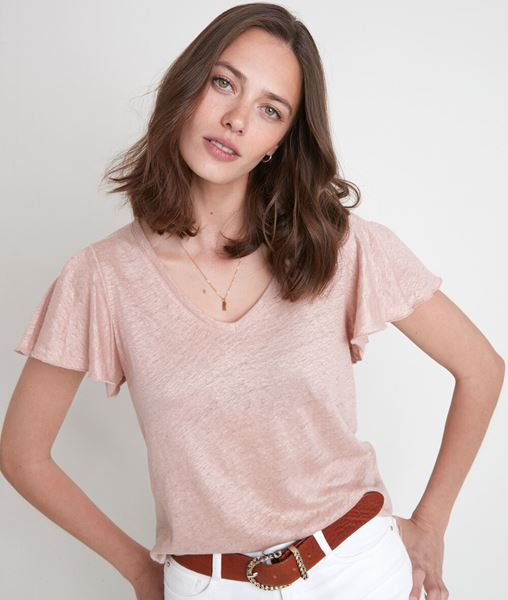 Picture of ICAO PINK ORGANIC LINEN T-SHIRT
