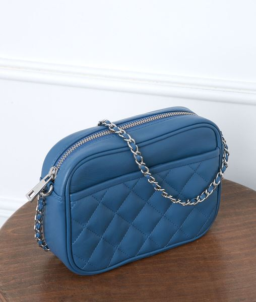 Picture of DAN SKY BLUE QUILTED LEATHER CLUTCH BAG