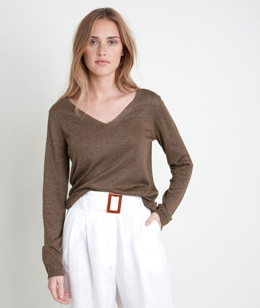 Picture of RYO KHAKI SPARKLY LIGHTWEIGHT JUMPER